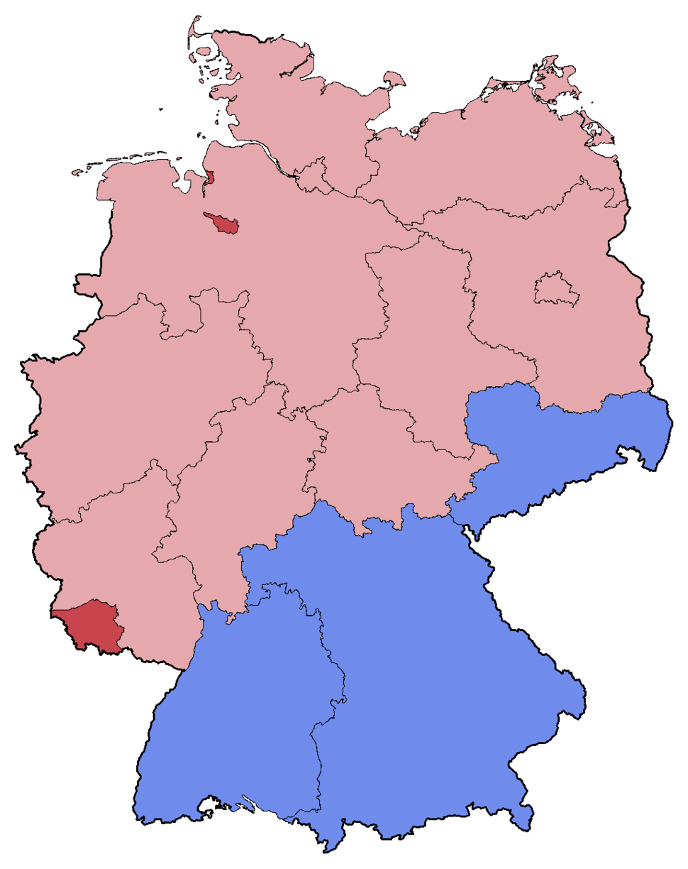 German Federal Election - Party list vote results by state - 1998
