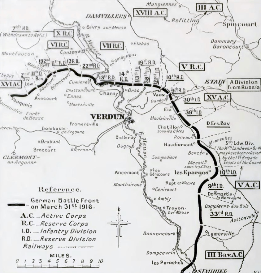 German dispositions at Verdun, 31 March 1916