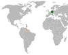 Lage von Deutschland und Guyana