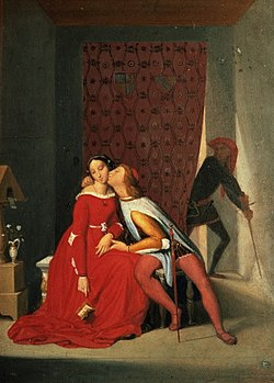 """Gianciotto Discovers Paolo and Francesca"" by Jean Auguste Dominique Ingres ; it depicts the Divine Comedy."