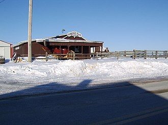Stagecoach Trail - Horsefarm with stagecoach rental on the Stagecoach Trail (the road in the front) in Apple River Township, somewhat west of the village of Apple River (January, 2008)