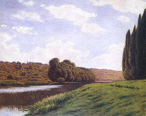 Italian landscape with cypresses.