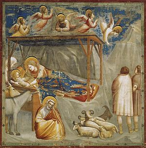 Giotto di Bondone - No. 17 Scenes from the Life of Christ - 1. Nativity - Birth of Jesus - WGA09193.jpg