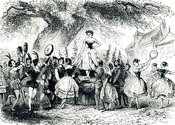 Drawing of a crowd of costumed dancers dancing around a stage beneath a large tree. Atop the stage is a lone female dancer.