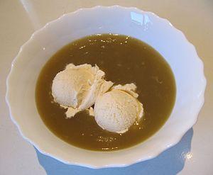 Rødgrød - Grønnegrød with vanilla ice cream (supermarket product of Denmark)
