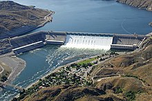 Photograph of the Grand Coulee Dam on the Columbia River in Washington.