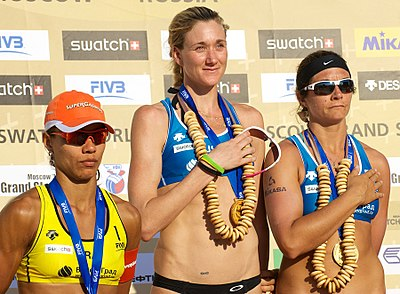 United States and Brazil have won most of the Olympic medals of beach volleyball. Picture shows Juliana Silva (left) of Brazil, with Kerri Walsh (center) and Misty May-Treanor of the United States at the 2011 FIVB Moscow Grand Slam. Grand Slam Moscow 2011, Set 2 - 102.jpg