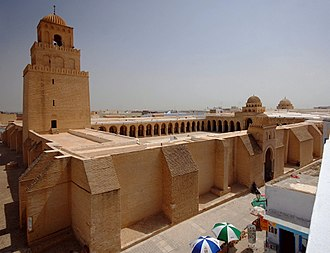 History of Islam - The Mosque of Uqba (Great Mosque of Kairouan), founded by the Umayyad general Uqba Ibn Nafi in 670 CE, is the oldest and most prestigious mosque in the Muslim West; its present form dates from the 9th century, Kairouan, Tunisia.