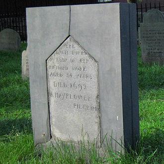 Richard More (Mayflower passenger) - The original gravestone of Mayflower passenger Captain Richard More.