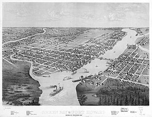 Green Bay, Wisconsin - 1867 bird's eye illustration of Green Bay