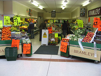 Greengrocer - Interior of a greengrocer's shop in Stroud, Gloucestershire