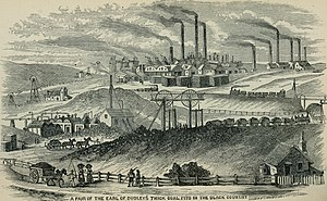 Black Country - A Black Country scene from the 1870s including coal mines, mineral railways, furnaces and factories.
