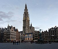 Grote Markt and Cathedral of Our Lady - Antwerp, Belgium - panoramio.jpg