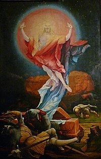 A 16th-century painting of the resurrection of Jesus by Matthias Grünewald.