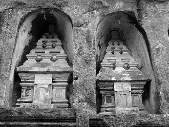 Bali Kingdom - Gunung Kawi rock-cut candi shrines demonstrate similar temple style of Java during the late Medang period.