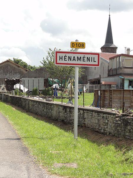 Hénamémil (M-et-M) city limit sign