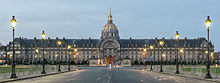 The Facade of the Esplanade des Invalides at sunset