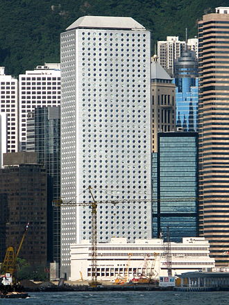 Jardine House - Jardine House, as seen from Victoria Harbour; General Post Office in the foreground.