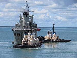 HMAS Tobruk (L 50) Departs Fort Hill Wharf - January 2012.jpg