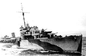 HMS Kempenfelt (I18) - Late-war picture of Assiniboine. Note the Type 271 radar above the bridge, the Hedgehog mortar shells to the right of 'A' gun and the 20 Oerlikon mount on the bridge wing.