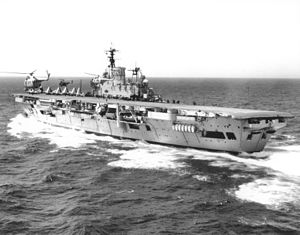 HMS Eagle (R05) - Whirlwinds fly off Eagle in the late 1950s, before her rebuild