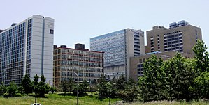 Drexel University College of Medicine - Center City Hahnemann Campus as seen from the I-676 interchange.