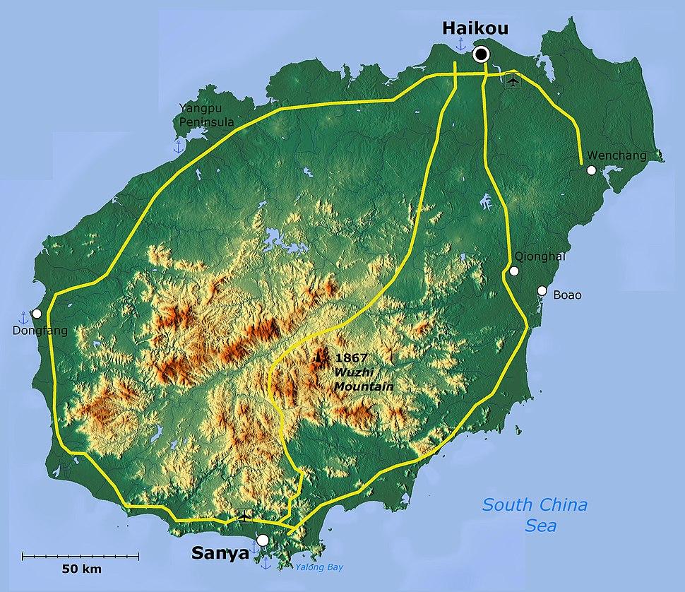 Hainan Island topographical