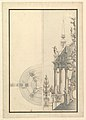Half Elevation and Half Ground Plan for a Catafalque- Columns Supporting a Stepped Dome with 2 Obelisks Surmounted by Figure of Fame MET DP820108.jpg