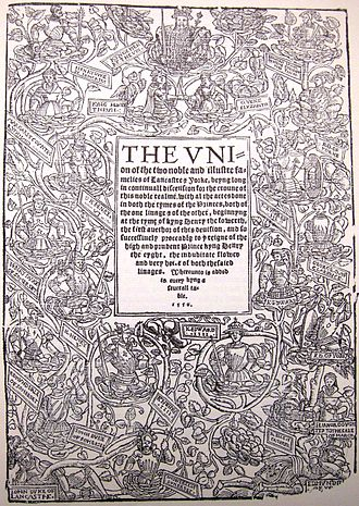 Edward Hall - Title page of the 1550 edition of Hall's Union of the Two Noble and Illustre Families of Lancastre and Yorke, depicting the descent of Henry VIII from John of Gaunt and Edmund of Langley
