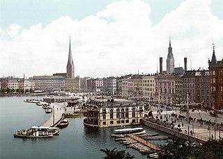 Hamburger Jungfernstieg um die Jahrhundertwende