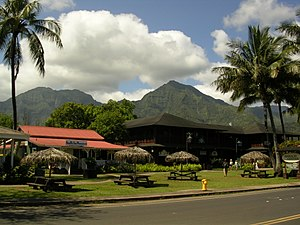 Hanalei Town with a view of Mt. Na Molokama, a...
