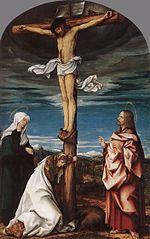 Kreuzigungsaltar, Mitteltafel: Christus am Kreuz