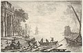 Harbor with rising sun, figures in foreground, colonnade on left MET DP833462.jpg