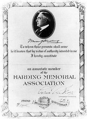 Harding Tomb - Harding Memorial Association membership certificate, 1923