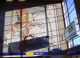 "Heidelberg Hauptbahnhof - Sgraffito ""Helios with the sun chariot"" in the main hall."