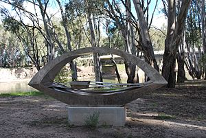 Hay, New South Wales - A sculpture by John Wooller titled Lang's Crossing on the Murrumbidgee River bank