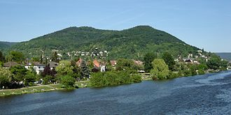 Heiligenberg (Heidelberg) - Heiligenberg (left) and Michaelsberg (right), viewed from downstream on the Neckar