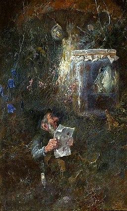 Heinrich Schlitt Gnom mit Zeitung und Tabakspfeife