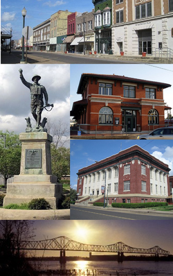 Clockwise from top: Cherry Street Historic District, the Delta Cultural Center, Phillips County Courthouse, the Helena Bridge over the Mississippi River and the Spirit of the American Doughboy Monument