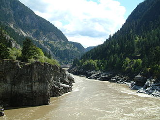 Canadian Pacific Railway in British Columbia - Hells Gate—CPR tracks by birch trees lower right; highway upper left