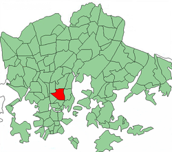 Position of Vallila within Helsinki