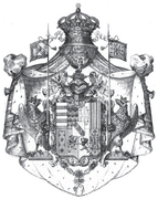 The coat of arms of the Duchy of Lorraine circa 1697