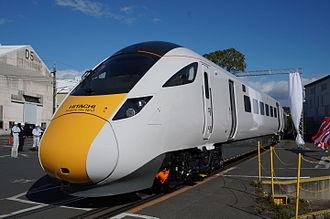 Intercity Express Programme - Hitachi Class 800 officially unveiled at Kasado, Japan, 13 November 2014