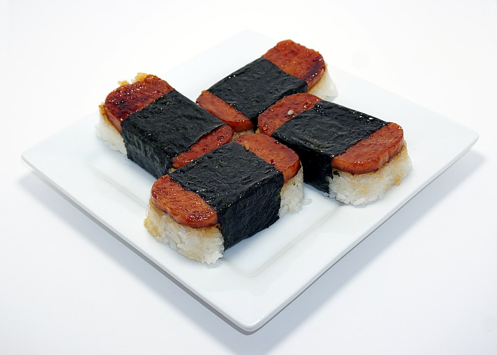A plate of freshly made Spam musubi.