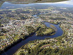 Hønefoss seen from the air. The river is Storelva.