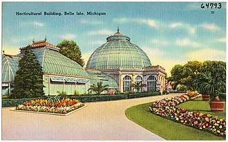 Belle Isle Conservatory - Old postcard of the conservatory, showing the original wooden structure