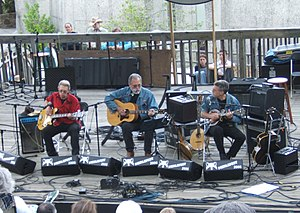 Jack Casady - Hot Tuna at Merlefest, 2006. Left to right, Jack Casady, Jorma Kaukonen, and Barry Mitterhof.
