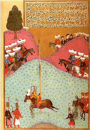 Murad II - Sultan Murad II at archery practice (miniature painting from 1584)