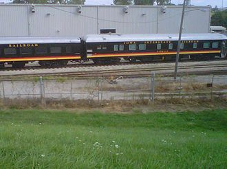 Iowa Interstate Railroad - Iowa Interstate Railroad passenger cars near CRANDIC shops in Cedar Rapids, Iowa.