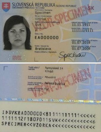 Identity document wikiwand slovak id card front pronofoot35fo Gallery